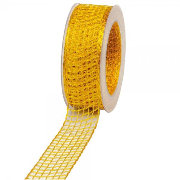 Geschenkband Gitter 40mm/20Meter gelb