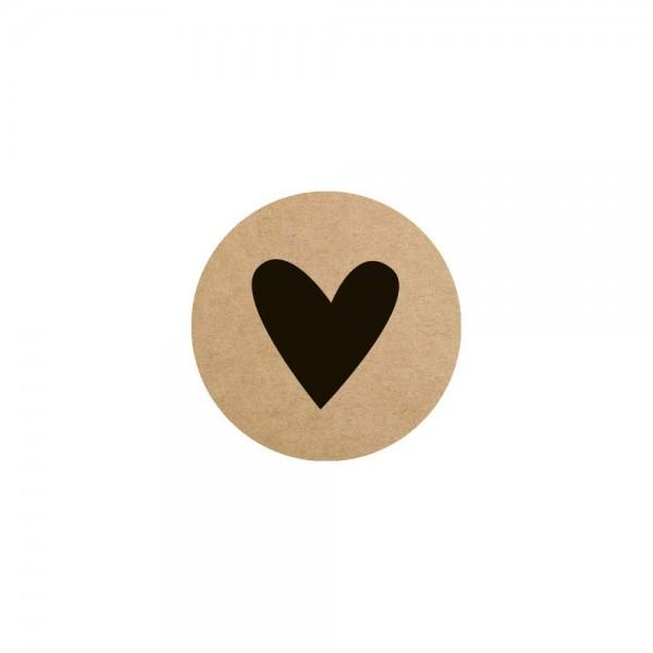 Herz Etikett Ø 3,5cm braun