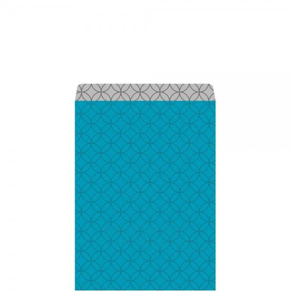 Geschenkflachbeutel Circles türkis/silber 11,5x17,1+2,8cm