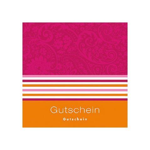 Gutschein-Klappkarte magenta/orange