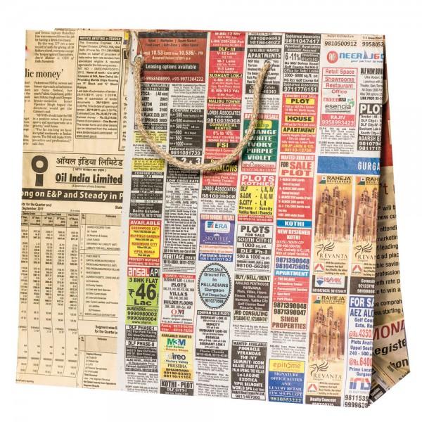Papier Tragetaschen 33x12x33cm Newspaper