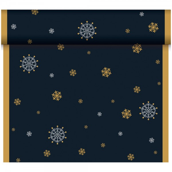 DUNI Tete-A-Tete Tischläufer Snowflake black