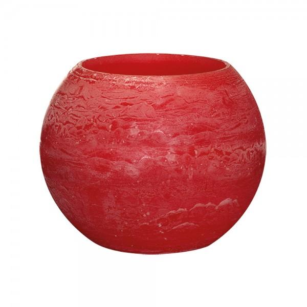 Wachswindlicht Rustik Höhe11 cm Ø 15cm Rot