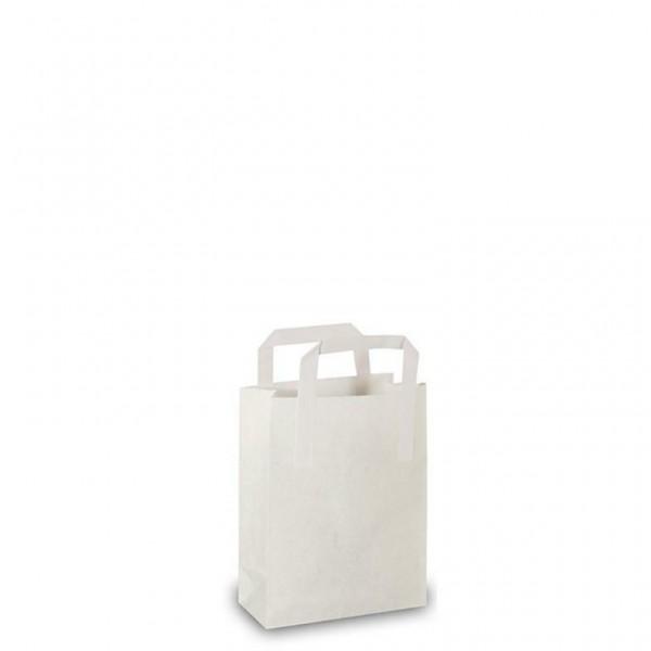 Papier Tragetaschen 18x8x22 cm weiß Flachgriff