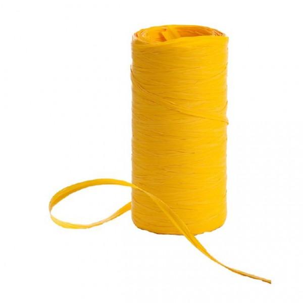Raphia Band auf Rolle 200Meter gelb