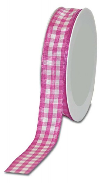 Geschenkband Landhaus kariert 25mm/25 Meter pink
