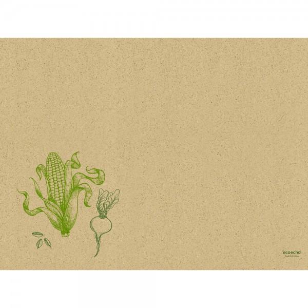 DUNI Tischset aus Graspapier 30x40cm Veggies Braun
