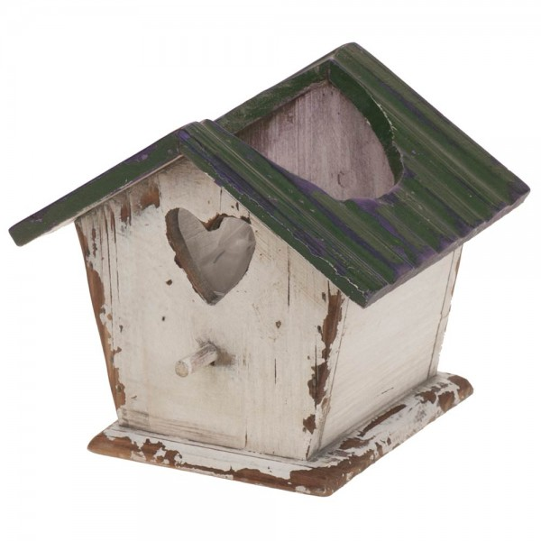 Vogelhaus aus Holz 16x13x14cm weiß/grün