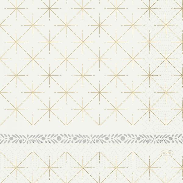DUNI Zelltuch Serviette 33x33cm 1/4F.Glitter White