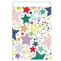Geschenkflachbeutel Sterne bunt 17x23+3cm