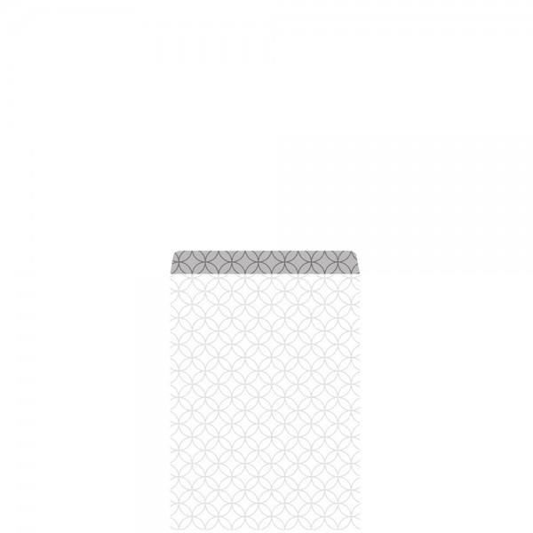 Geschenkflachbeutel Circles Weiß/Silber 7,9x11+1,5cm