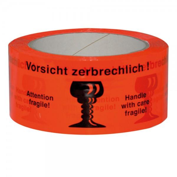 """Paketband rot """"Vorsicht Zerbrechlich"""" 50mm 66Meter"""