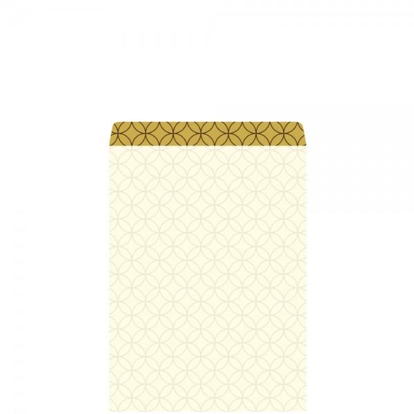 Geschenkflachbeutel Circles creme/gold 11,5x17,1+2,8cm