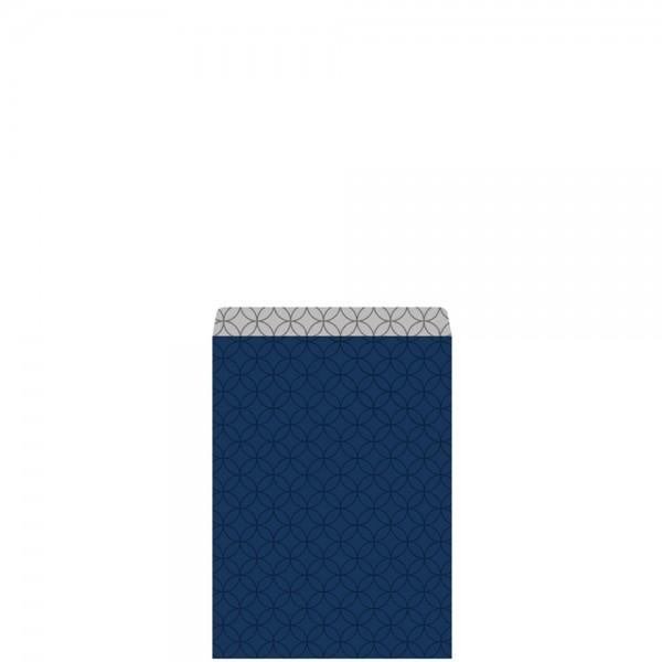 Geschenkflachbeutel Circles Blau/Silber 7,9x11+1,5cm