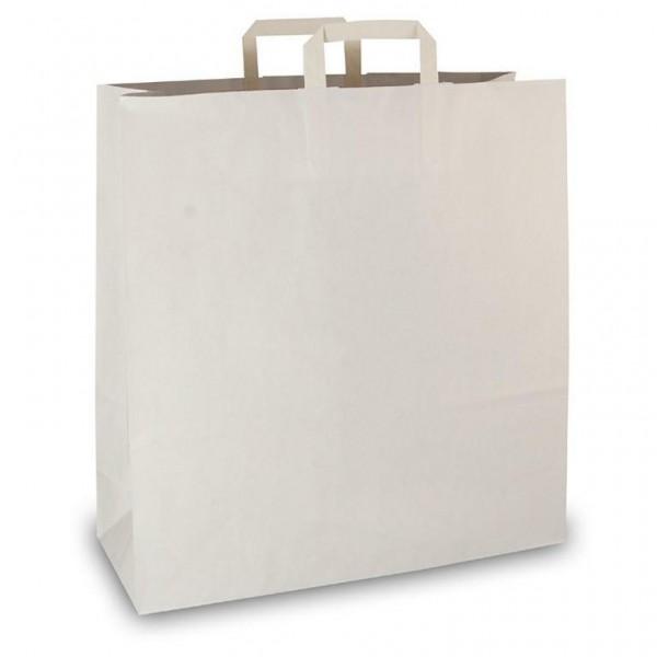 Papier Tragetaschen 45x17x48cm weiß Flachgriff