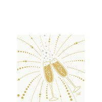 DUNI Zelltuch Serviette 33x33cm 1/4F Festive Cheers white