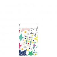 Geschenkflachbeutel Sterne bunt 7,9x11+1,5cm