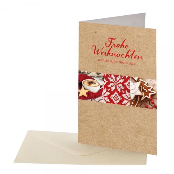Weihnachtskarte Braun/Rot Landhaus