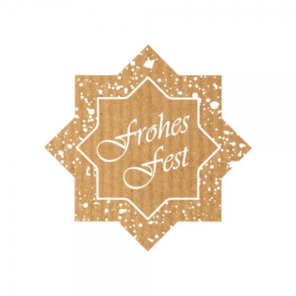 Weihnachts-Etikett 35x35 mm Kraftpapier Stern Frohes Fest
