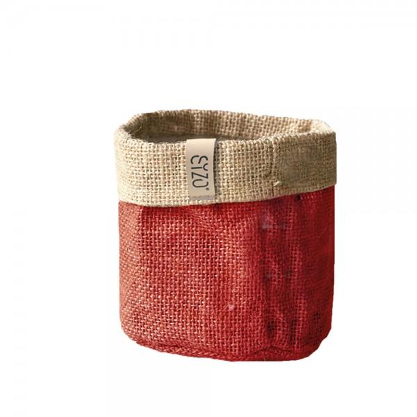 Jutebag Ø 20 cm Höhe ca.20 cm Rot