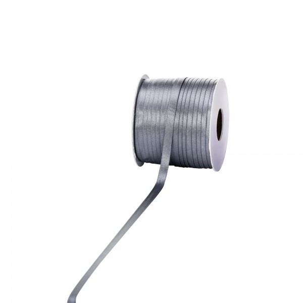 Satinband 6mm 100Meter silber
