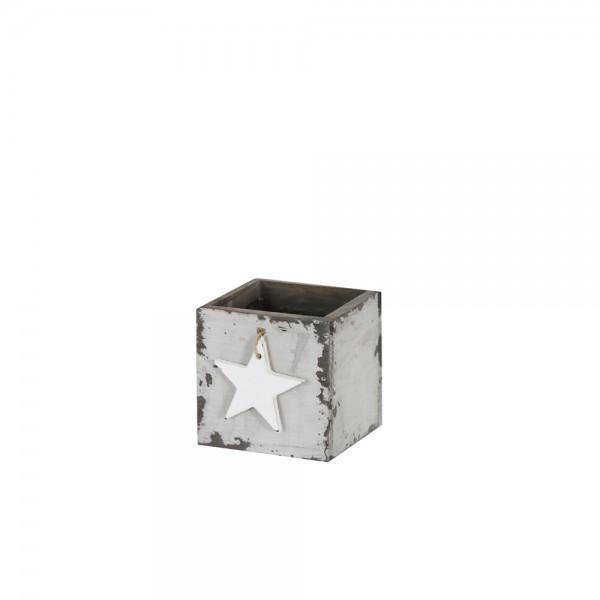 Holzschublade 10x10x10 cm Star Emma grau used