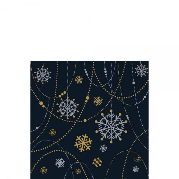 DUNI Zelltuch Serviette 33x33cm 1/4. Snowflake black