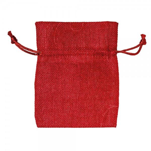Säckchen in Leinenoptik 9 x 12 cm Rot