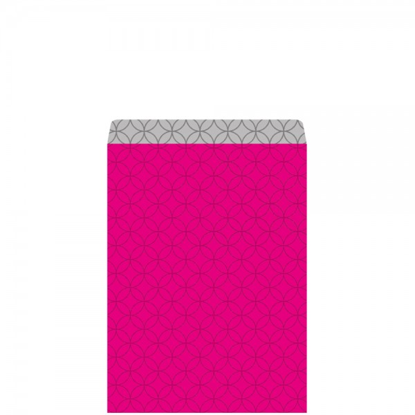 Geschenkflachbeutel Circles pink/silber 11,5x17,1+2,8cm