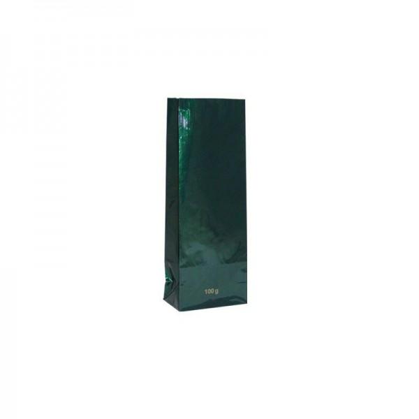 Tee Blockbodenbeutel 100 gr. 7x4x19cm grün