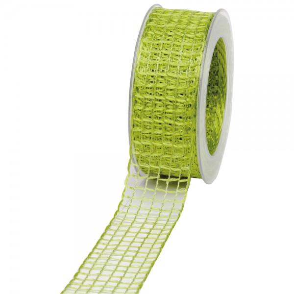 Geschenkband Gitter 40mm/20Meter hellgrün
