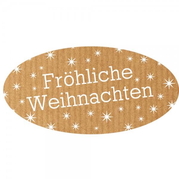 Weihnachts-Etikett 60x30 mm Kraftpapier Fröhliche Weihnachte