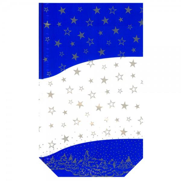 Klarsichtbodenbeutel PP blau goldene Sterne 180 x 300 mm