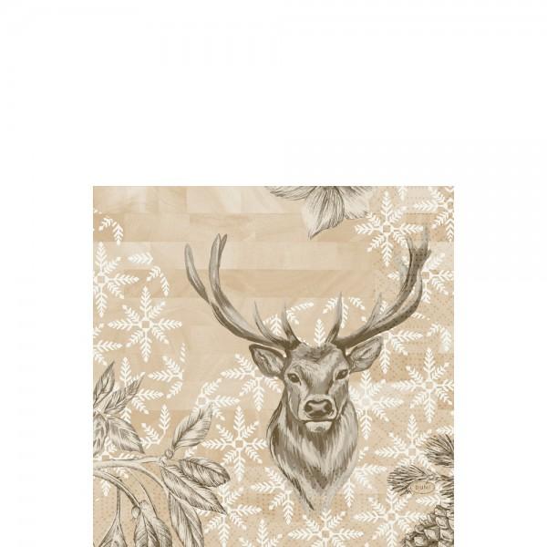 DUNI Zelltuch Serviette 33x33 cm 1/4F. Wild Deer