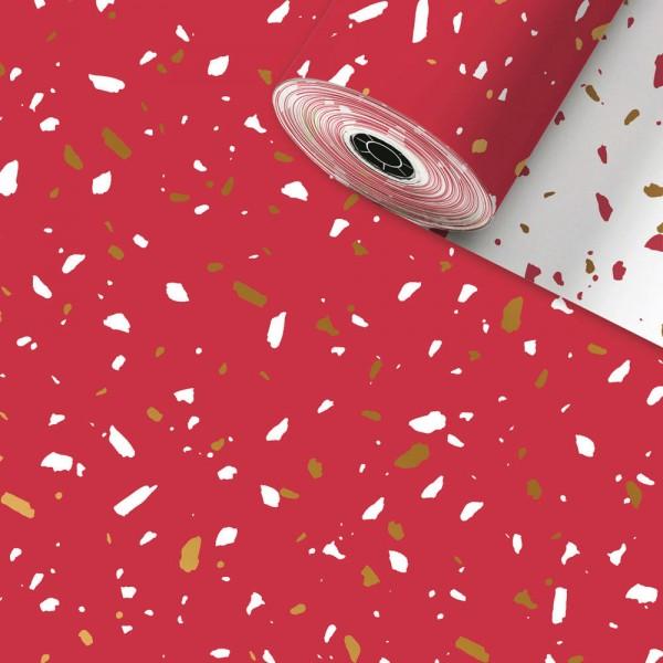 Geschenkpapier Rolle 50cm 50Meter Terazzo Rot