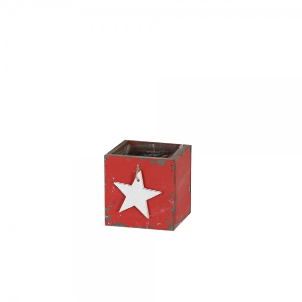 Holzschublade 10x10x10 cm Star Svenja rot used