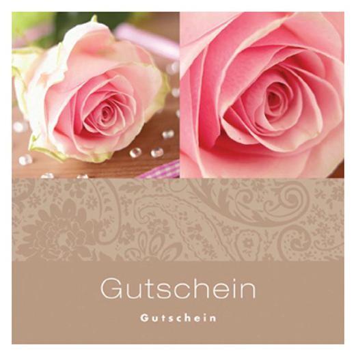 Gutschein-Klappkarte café/rosa Rosen
