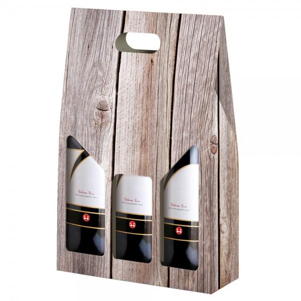 Flaschenkarton 3-er Wood 27x9x40 cm