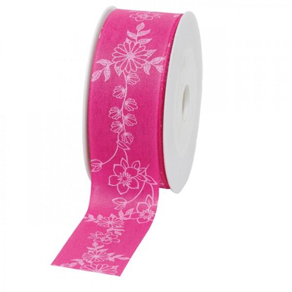 """Geschenkband """"Blumenranke"""" 40mm 20Meter pink"""