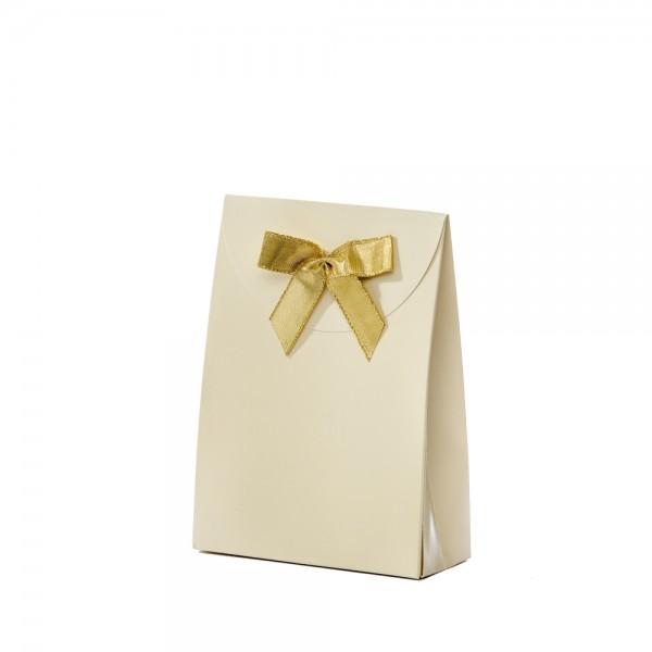 Geschenktasche 13,5x5,5x18,5+6,7cm creme