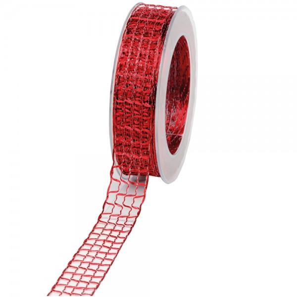 Geschenkband Gitter 25mm/20Meter bordeaux