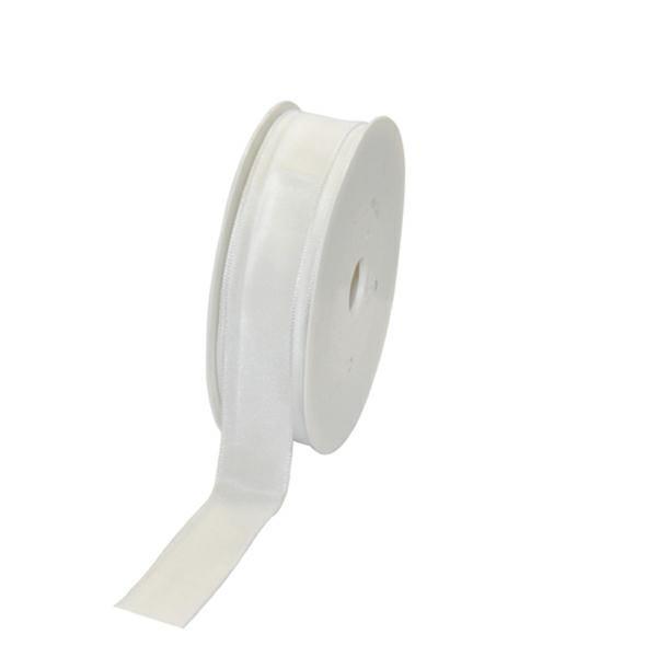 Geschenkband Stoff m. Draht 25mm/25Meter weiß