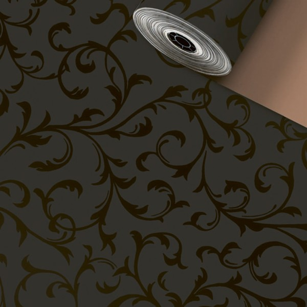 Geschenkpapier Rolle 50cm 50Meter Ornament Schwarz