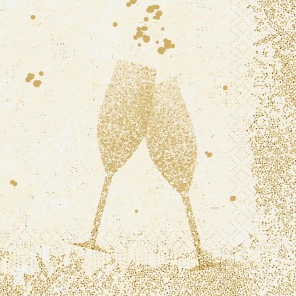 DUNI Zelltuch Serviette 33x33cm 1/4F.Celebrate White