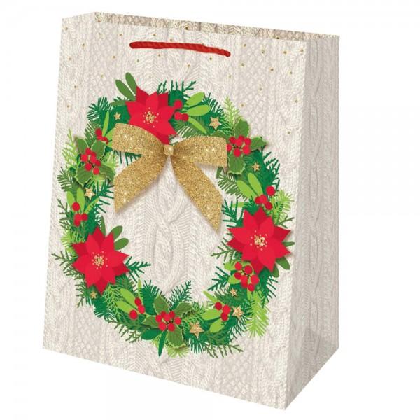 Tragetaschen Weihnachtskranz weiß 18x10x23 cm