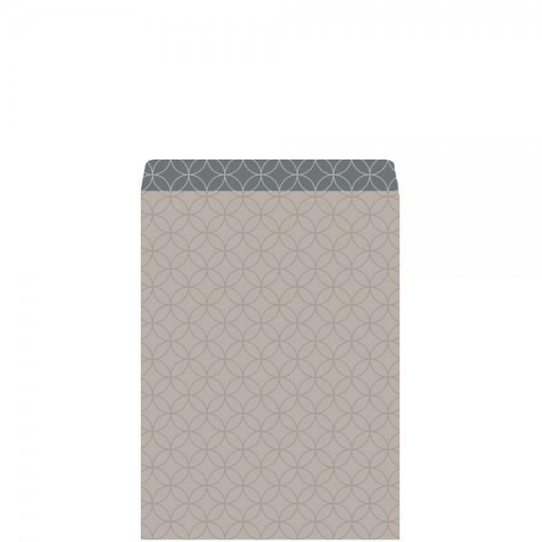 Geschenkflachbeutel Circles grau/dunkelgrau 11,5x17,1+2,8cm