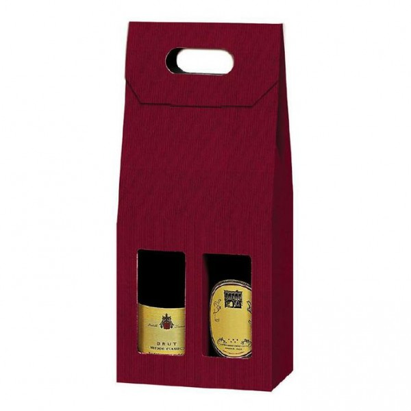 Flaschenkarton 2-er bordeaux 18x9x41 cm
