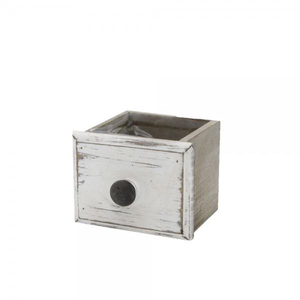 Holzschublade 12x10x8 cm Klara Weiß