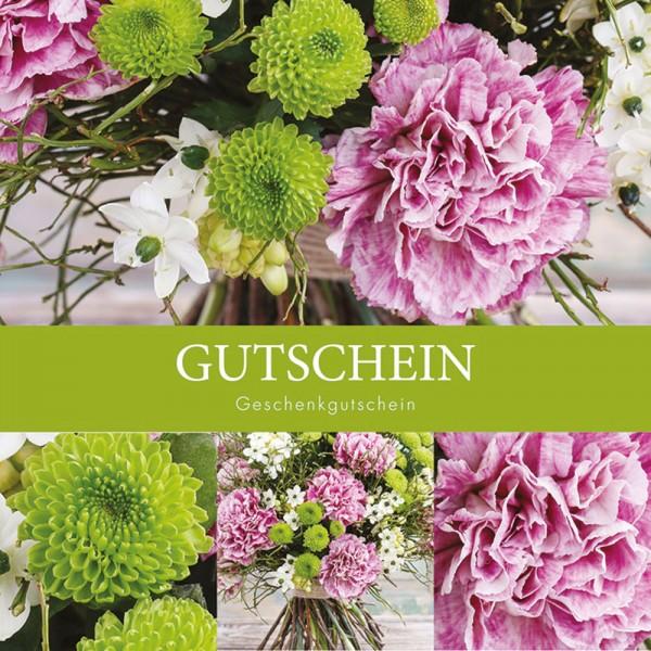 Gutschein-Klappkarte grün/rosa Blumen