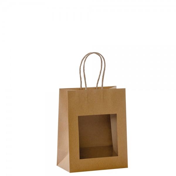 Papier Tragetaschen mit Fenster 18x10x22,7cm